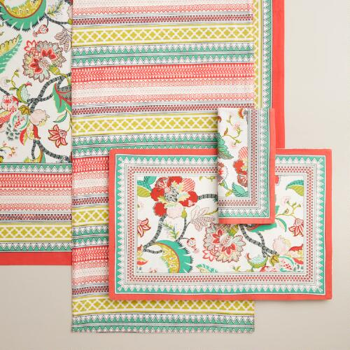 Red Floral Somrasa Table Linen Collection