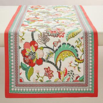 Red Floral Somrasa Table Runner
