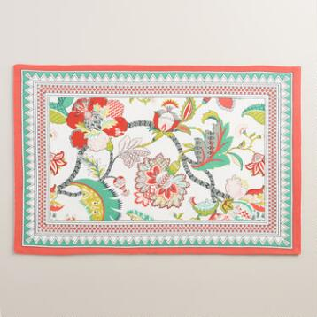 Red Floral Somrasa Placemats Set of 4
