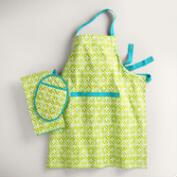 Aqua and Green Sheila Kitchen Linens Collection