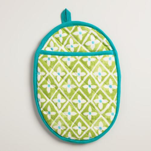 Aqua and Green Oval Sheila Potholder