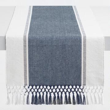 Seaside Stripe Fringed Table Runner