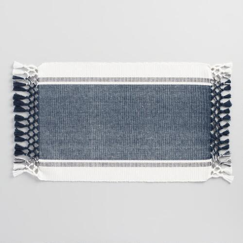 Seaside Stripe Fringed Placemats Set of 4
