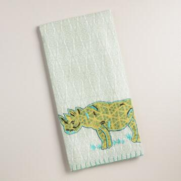 Embroidered Rhino Kitchen Towel