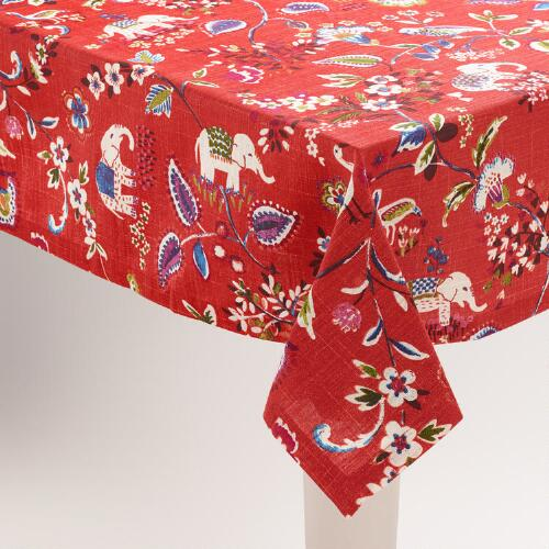 Red Elephant Tablecloth