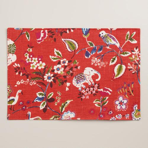 Red Elephant Placemats Set of 4