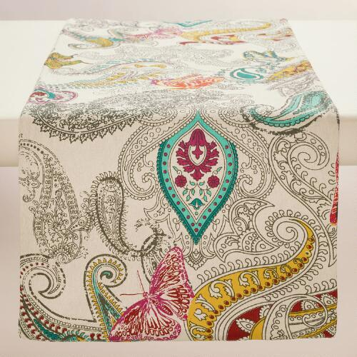 Chambray Papillon Paisley Table Runner