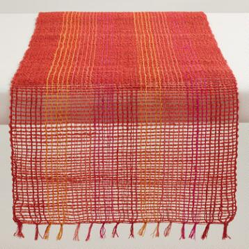 Orange and Fuchsia Abaca Table Runner