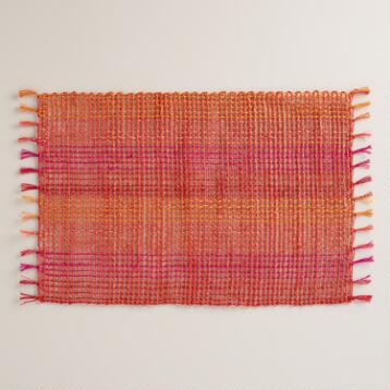Orange and Fuchsia Abaca Placemats Set of 4
