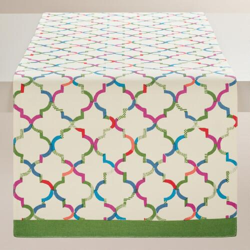 Green and Ivory Oceans Gate Print Table Runner