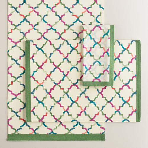 Green and Ivory Oceans Gate Table Linen Collection
