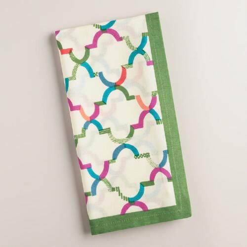 Green and Ivory Oceans Gate Print Napkins Set of 4
