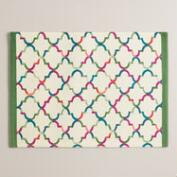 Green and Ivory Oceans Gate Print Placemats Set of 4