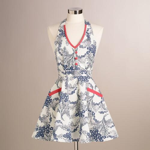 Mint and Coral Floral Mathilda Apron