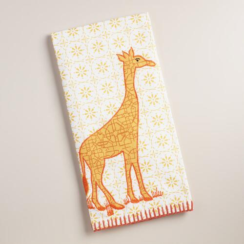 Embroidered Giraffe Kitchen Towel
