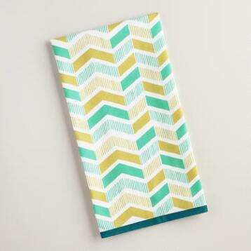 Blue and Green Geo Print Kitchen Towel
