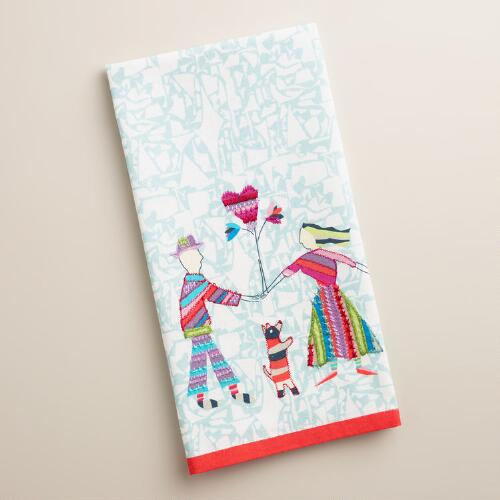 Embroidered Folk People Kitchen Towel