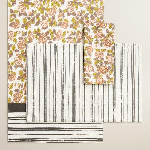 Rose Floral Striped Table Linen Collection