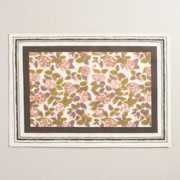 Rose Floral Striped Placemats Set of 4