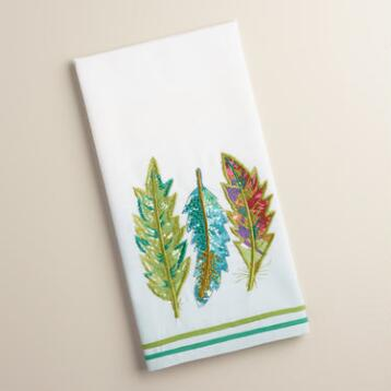 Embroidered Feathers Kitchen Towel