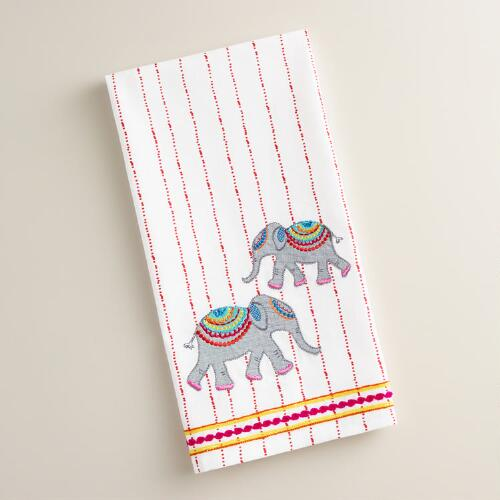 Embroidered Striped Elephant Kitchen Towel