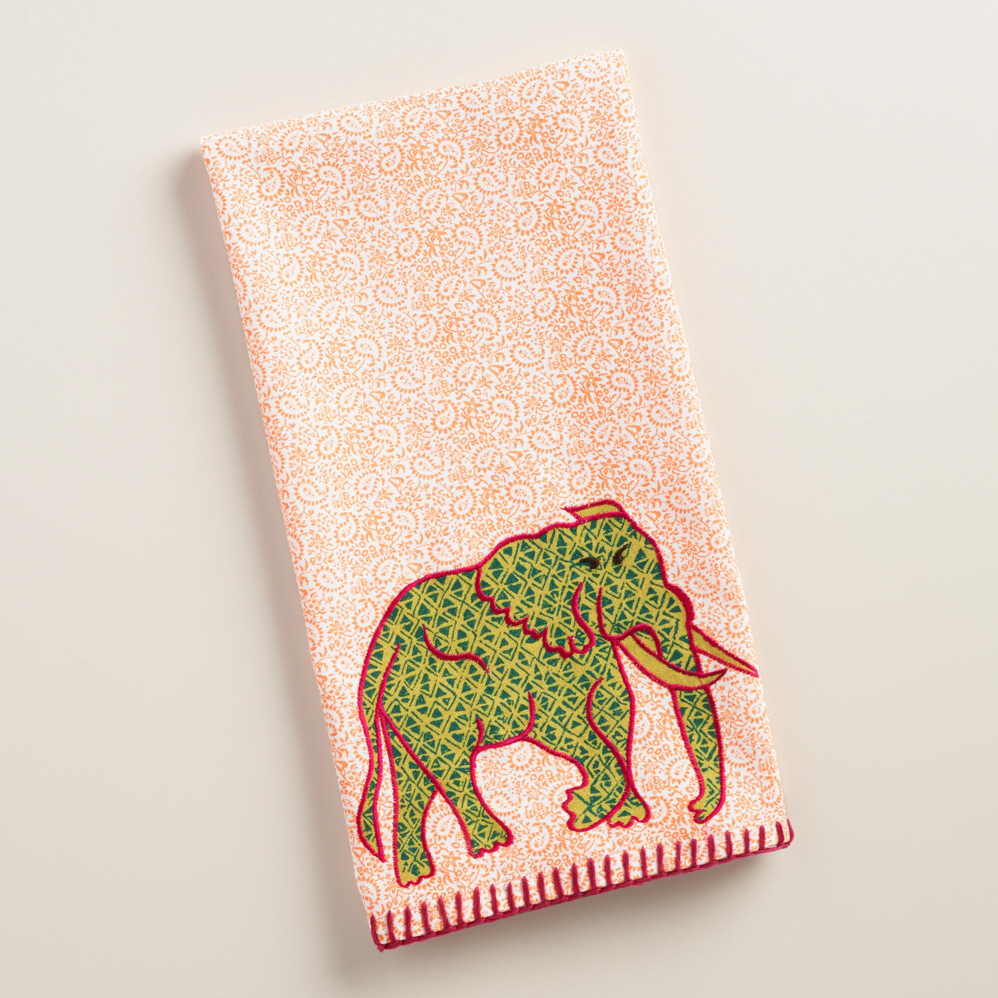 Embroidered Elephant Kitchen Towel