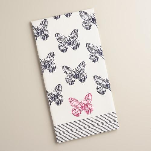 Navy and Fuchsia Butterfly Kitchen Towel