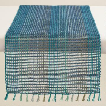 Blue and Aqua Abaca Table Runner