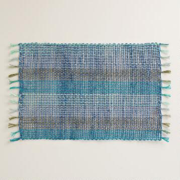 Blue and Aqua Abaca Placemats Set of 4
