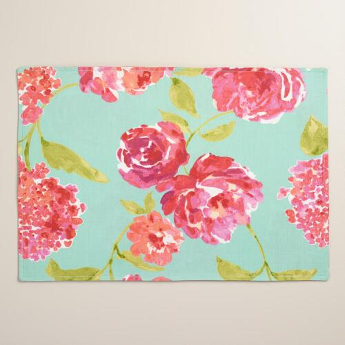 Aqua and Pink Floral Blake Placemats Set of 4