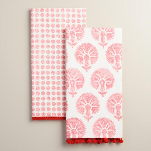 Coral Mixed Print Kitchen Towels Set of 2