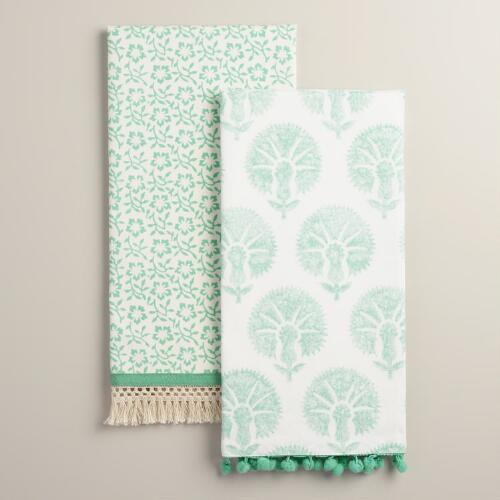 Aqua Mixed Print Kitchen Towels Set of 2