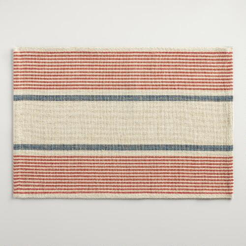 Red and Blue Striped Loire Placemats Set of 4