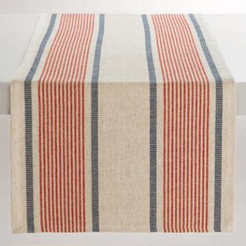 Red and Blue Striped Loire Table Runner