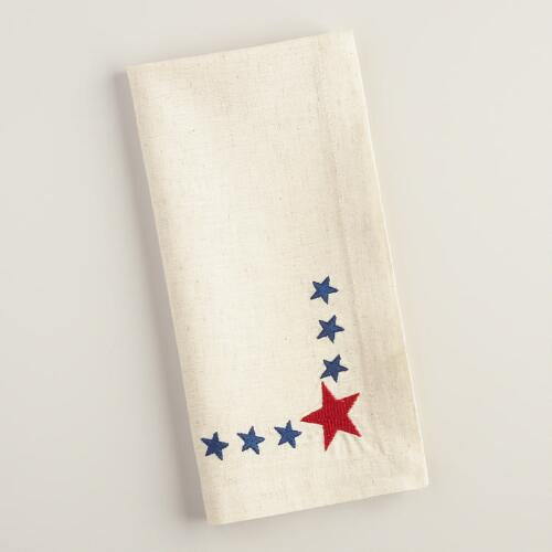Embroidered Stars Napkin Set of 4