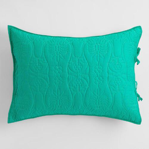 Teal and Ocean Wave Simone Reversible Pillow Shams Set of 2