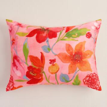 Watercolor Floral Pillow Shams, Set of 2