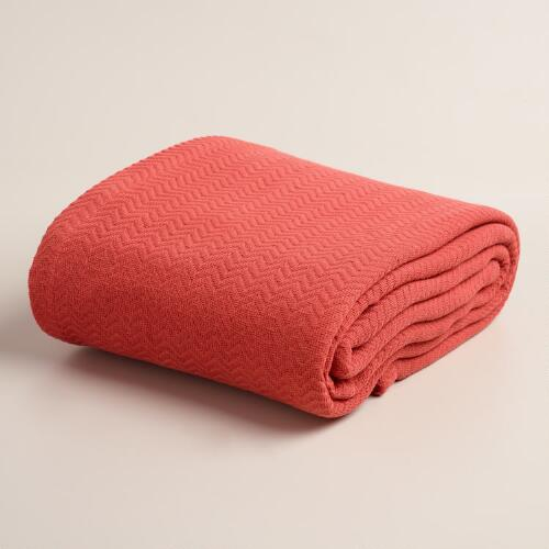 Coral Chevron Cotton Blanket