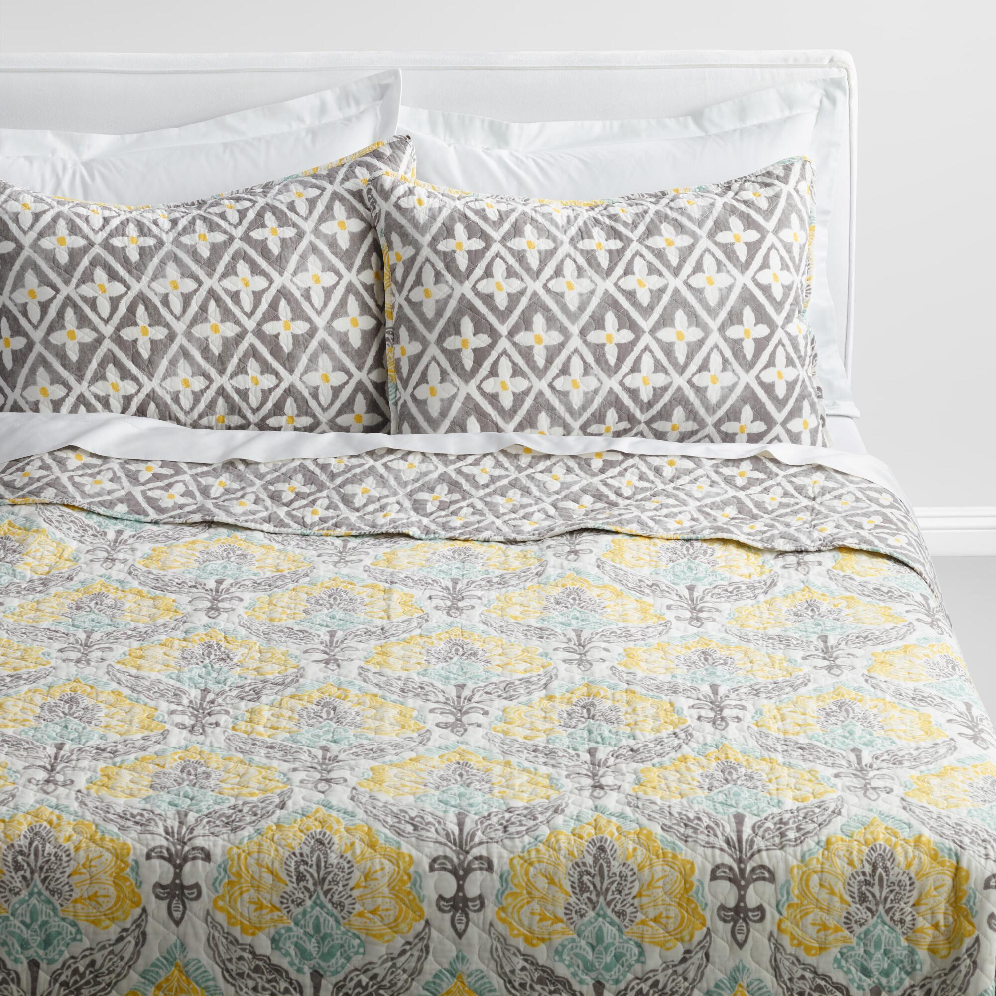 Yellow Gray And White Bedroom: Yellow And Gray Allison Bedding Collection