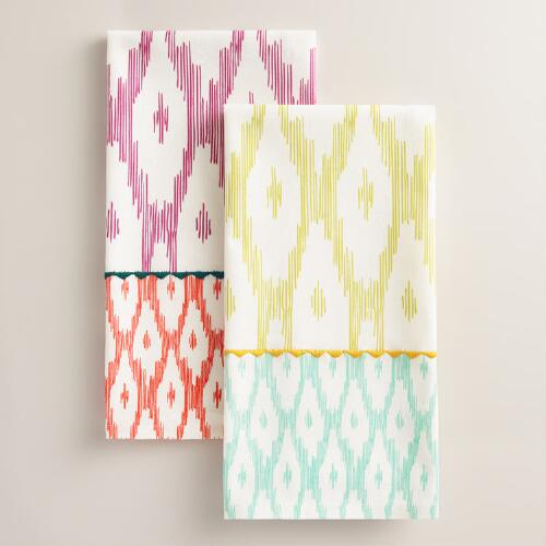 Two Tone Ikat Kitchen Towel