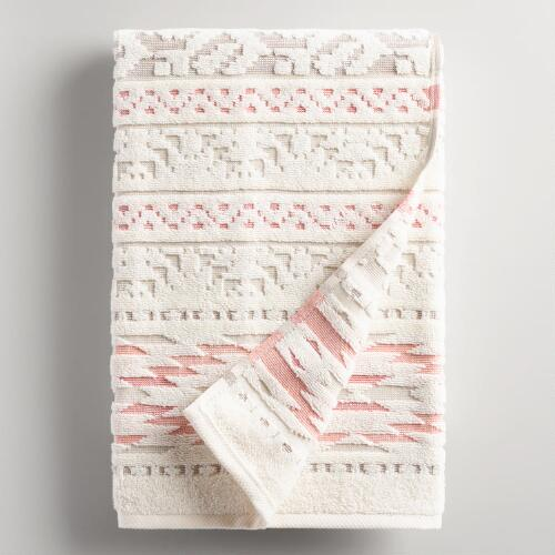 Coral and Taupe Tula Sculpted Bath Towel