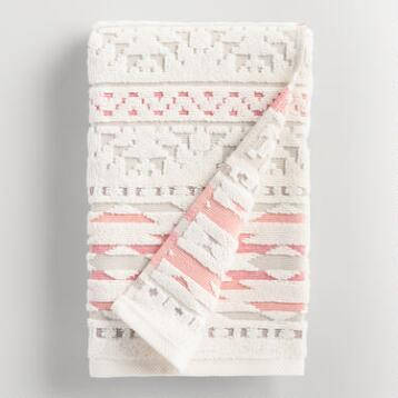 Coral and Taupe Tula Sculpted Hand Towel