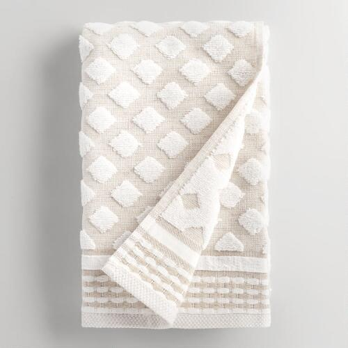 Linen Diamond Marielle Sculpted Hand Towel