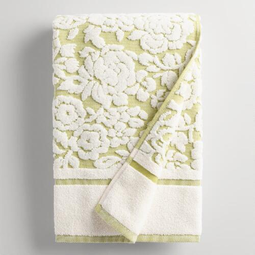 Green Adeline Floral Sculpted Bath Towel