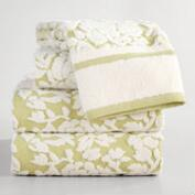 Green Adeline Floral Sculpted Towel Collection