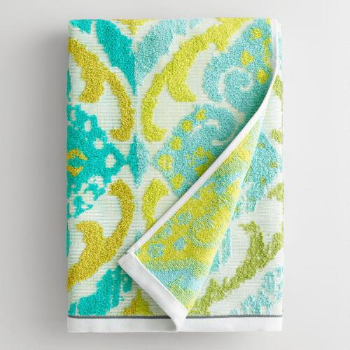 Turquoise Damask Lillian Sculpted Bath Towel