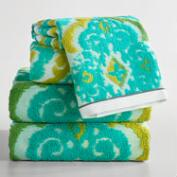 Turquoise Damask Lillian Sculpted Towel Collection
