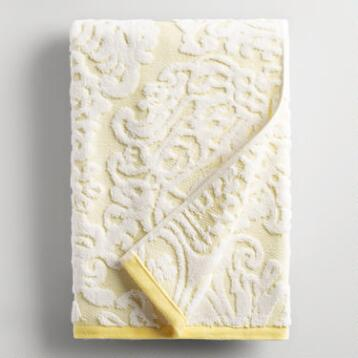 Lemon Fraiche Damask Caterina Sculpted Bath Towel