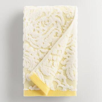 Lemon Fraiche Damask Caterina Sculpted Hand Towel