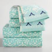 Aqua Mist Aurora Jacquard Towel Collection